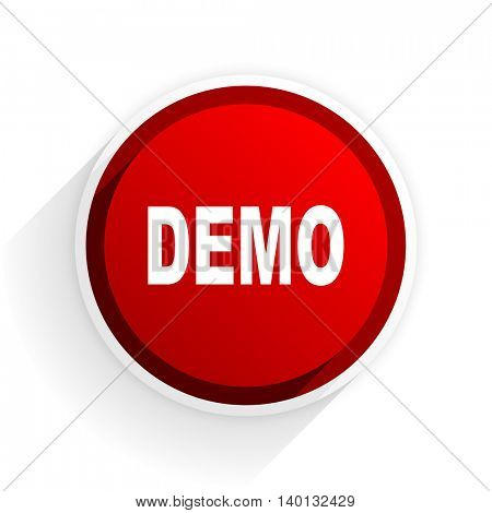 demo flat icon with shadow on white background, red modern design web element