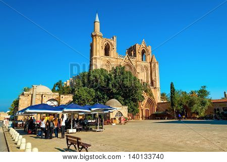 FAMAGUSTA CYPRUS - OCTOBER 10 2015: Lala Mustafa Pasha Mosque (formerly St. Nicholas Cathedral) Famagusta Cyprus.