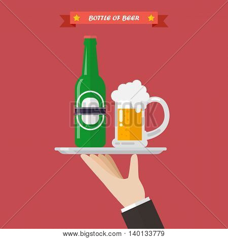 Waiter serving a bottle and glass of beer. Flat style vector illustration