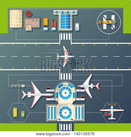 Aerial top view of airport runways landings strips buildings and facilities with planes and helicopter vector illustration