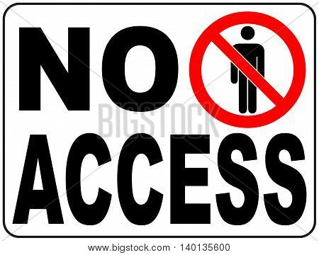 No Access Banner Vector Circle Prohibited Symbol Restricted Area For Member Only or No Enter Sign in Caution Zone isolated on white