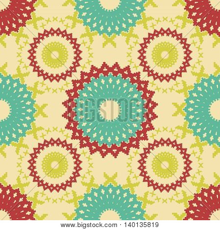Abstract seamless pattern of cogwheel shaped elements. Elegant geometric print with stepped edges figures. Round and X-shaped forms. Vector illustration for various creative projects