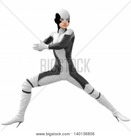 one teenage girl in a white dark super suit. Girl standing half-turned sideways to the camera. Legs wide apart. Stands in a fighting pose. 3D rendering, 3D illustration