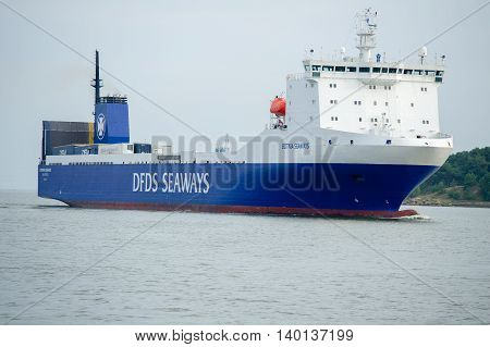 KLAIPEDA, LITHUANIA - JULY 24: DFDS ship BOTNIA SEAWAYS in Klaipeda harbor on July 24, 2016 Klaipeda, Lithuania. DFDS SEAWAYS is Northern Europe's largest shipping and logistics company.