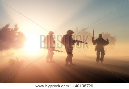 Silhouette of a group of soldiers in the fog.. 3d render