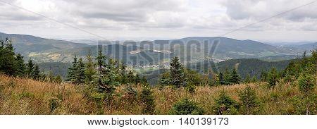 Panoramic views of the countryside Jeseniky, Czech Republic, Europe