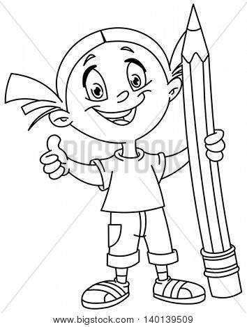 Outlined young girl holding a big pencil and showing thumb up. Vector illustration coloring page.