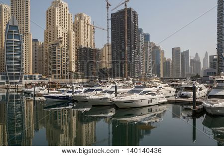 speedboats in yacht club of district Marina in Dubai