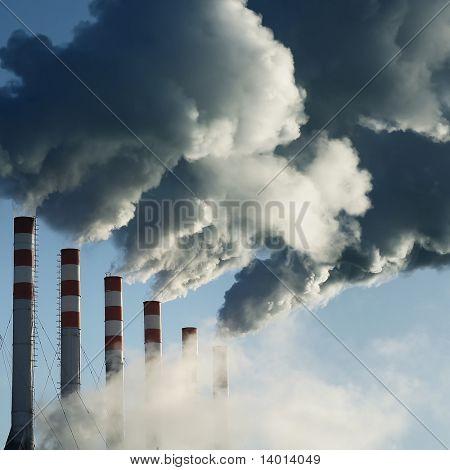 Smoking plant and blue sky