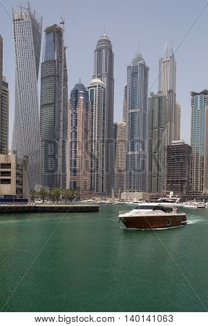 luxury speedboat in gulf of Marina district in Dubai