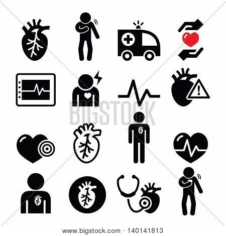 Heart disease, heart attack, Cardiovascular disease icons set