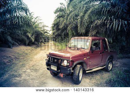 The Peninsula of Krabi, Thailand, Asia - 29 December 2013: Suzuki Samurai in the jungles of Thailand, the Samurai is a compact SUV from Suzuki