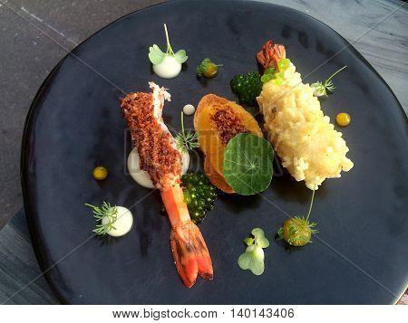 Closeup a fusion stylish Japanese prawn tempura appetizer with blur bokeh background