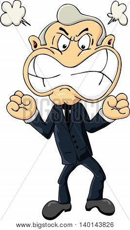 Angry man in suit and tie. Cartoon businessman