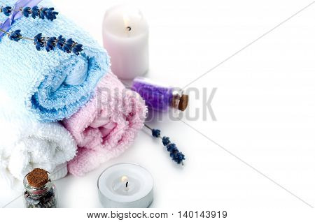 Colorful Stones And Towel On A White Background
