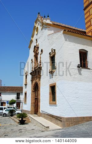 ESTEPONA, SPAIN - JULY 18, 2008 - View of a whitewashed church (Iglesia de Nuestra Senora del los remedios) Estepona Malaga Province Andalucia Spain Western Europe, July 18, 2008.