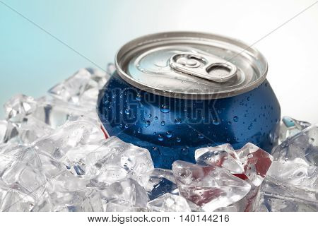 close up shot of blue cola can