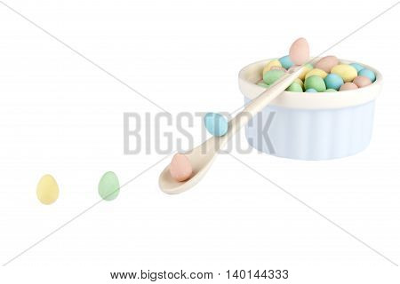 colorful eggs isolated on a white background