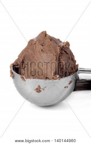 a scooper with chocolate ice cream isolated on white background