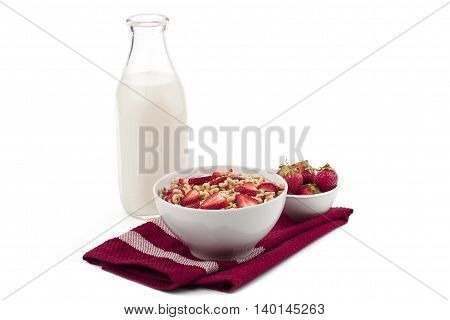 fruity cereal with milk isolated on white background