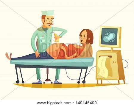 Late pregnancy ultrasound screening for birth weight prediction and fetal hart rate monitoring retro cartoon vector illustration
