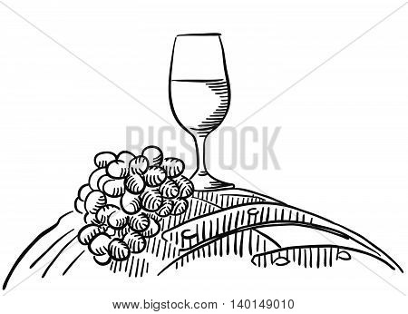 Wine Glas and Grapes, Vector Sketched Outline Artwork