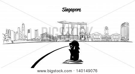 Singapore Outline Silhouette with Lion in Foreground Vector Sketched Outline Artwork
