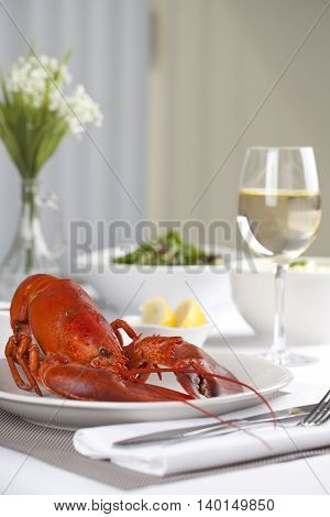 image of a plate with cooked lobster