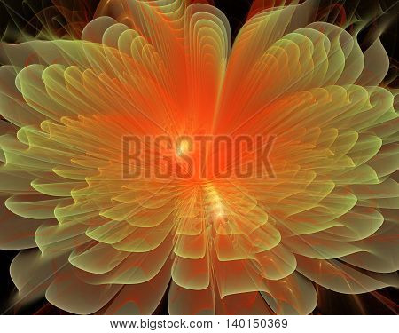 fractal illustration background bright fantastic beautiful flower