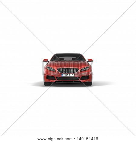 Brandless generic red car isolated on white background 3D Illustration