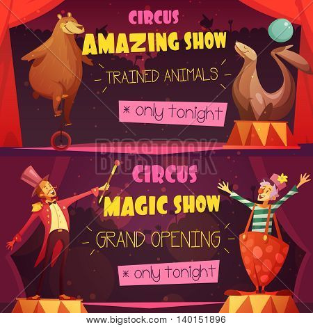 Traveling circus amazing show 2 retro cartoon style horizontal banners set with clown and magician isolated vector illustration