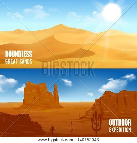 Horizontal beautiful desert landscape flat banners isolated vector illustration