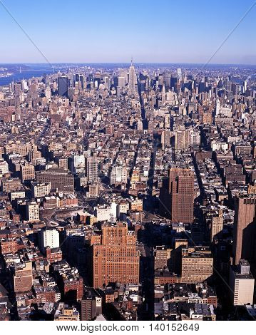 NEW YORK, USA - DECEMBER 8, 1994 - Aerial view of mid town Manhattan New York USA, December 8, 1994.