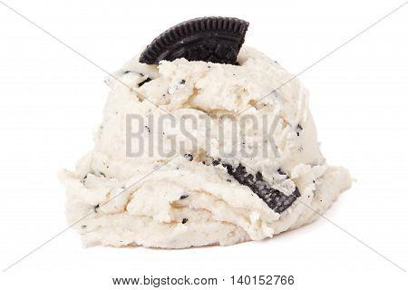 cookies and cream ice cream on white