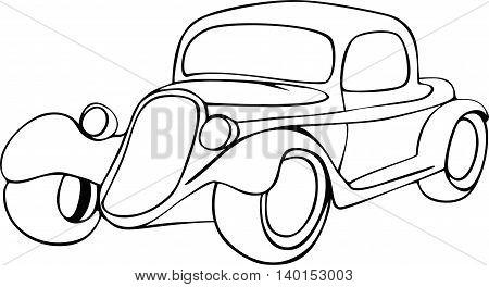 Vintage cartoon clasic car. Vector doodle illustration