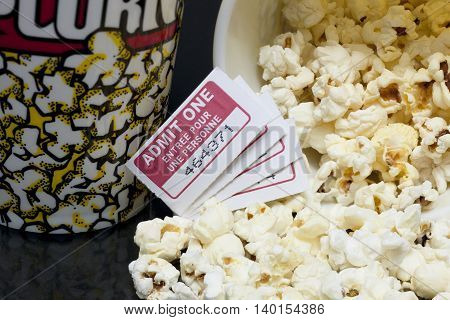 macro movie pop corn with several tickets