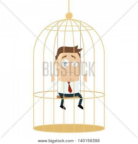 sad businessman in birdcage