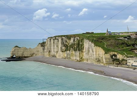 Natural cliffs on Alabaster coast Normandy in Etretat France