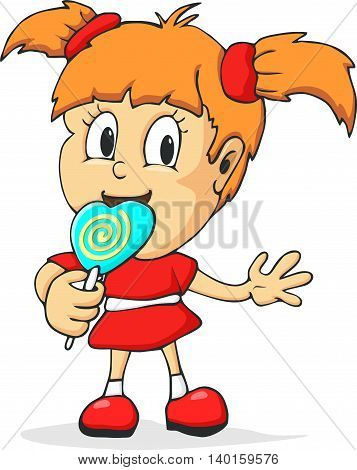 cute and funny girl with big lollipop isolated vector illustration.