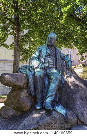Statue of famous poet and writer Adalbert Stifter in Linz, Austria