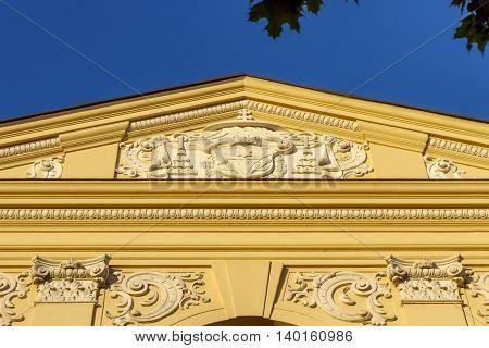 Detail of Seminarium Marianum, Marinasky seminar, in Trnava by day, Slovakia poster