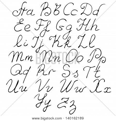 vector real hand Alphabet uppercase and lowercase letters