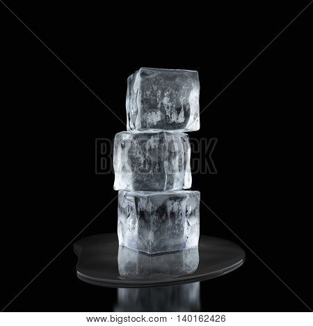 Ice cubes and water drop on black background. 3D illustration.