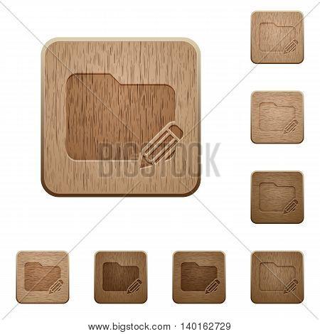 Set of carved wooden Rename folder buttons in 8 variations.