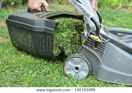 Detaching a container full of grass from lawn mower to empty it.