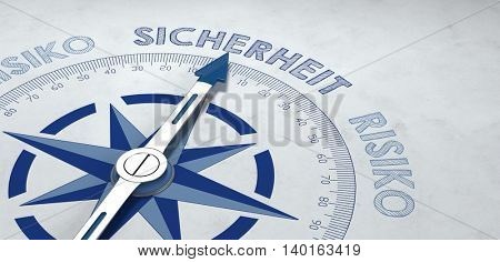 Close up 3d render of blue and gray German language compass pointed to the word sicherheit (safety), for concept about certainty or probable success amidst risk