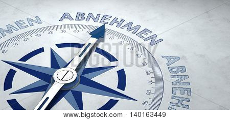 Blue and gray weathered 3D rendering of German text ABNEHMEN (loose weight) on weathered gray compass pointing upward