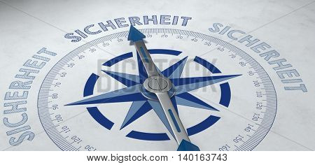 3d rendered blue and metal finished German language compass pointed to the word sicherheit (safety), for concept about certainty or probable success