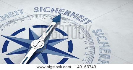Blue and gray German language compass 3d render aimed at the word sicherheit (safety), for concept about certainty or probable success