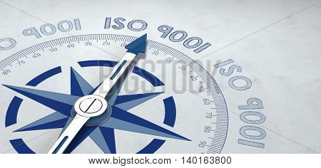 3d render of blue and gray metal compass pointer targeting text for ISO 9001 standards. Includes additional copy space.